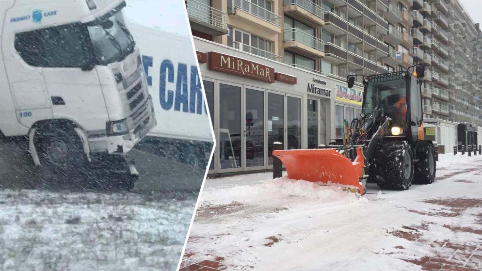 LIVE. Sneeuwzone trekt over Vlaanderen: truck gaat door middenberm op A11, sneeuw geruimd op zeedijk Blankenberge