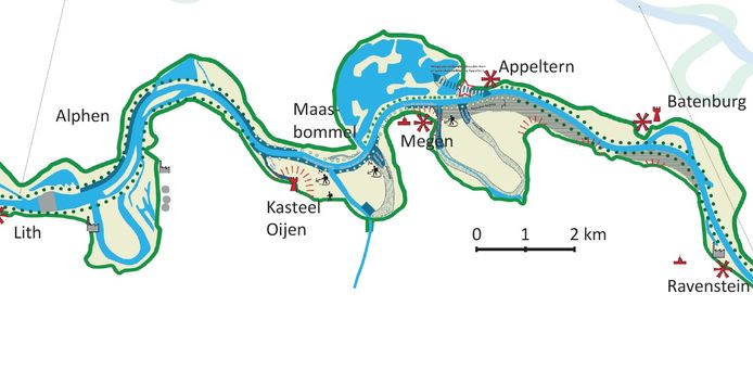 Het projectgebied van Meanderende Maas.