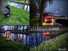 Scooter en helm in water gevonden, brandweer zoekt in sloot naar persoon