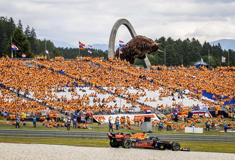 Fans van Max Verstappen bevolkten massaal de tribunes. Beeld ANP