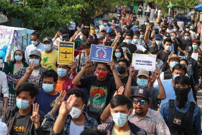 Demonstratie tegen de militaire coup in Myanmar