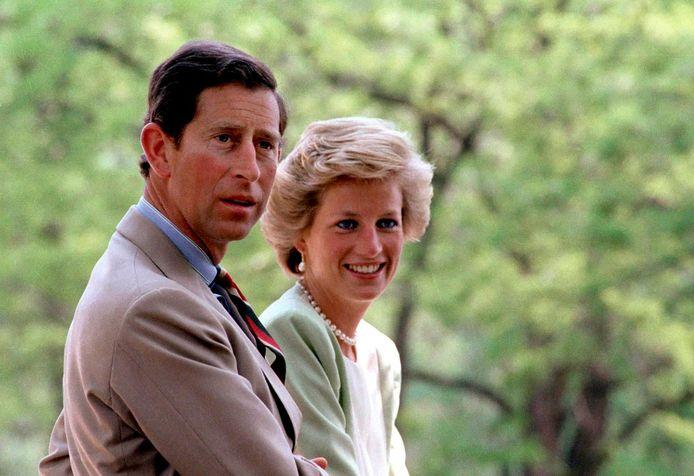 Prins Charles en prinses Diana in 1990.