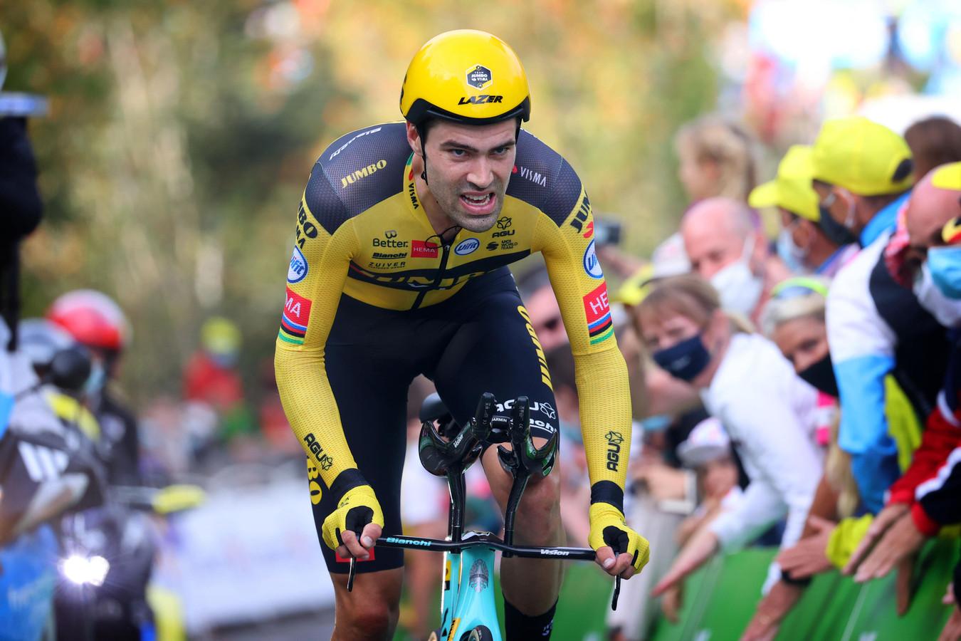 Tom Dumoulin tijdens de tijdrit in de Tour de France van vorig jaar.