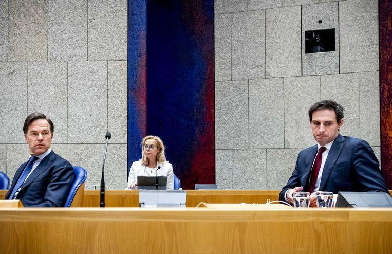 Mark Rutte, Sigrid Kaag en Wopke Hoekstra. Beeld Sem van der Wal/ANP