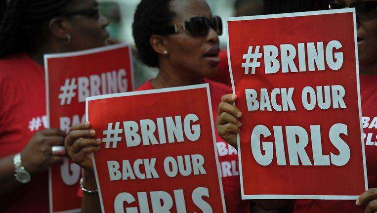 Protest van Nigeriaanse vrouwen die in Kenia wonen. Beeld afp