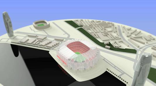 Fonyu Studio leverde een nieuw stadion, mét drie woontorens in de buurt. 'Zo komt het stadion meer in evenwicht met de omgeving'.