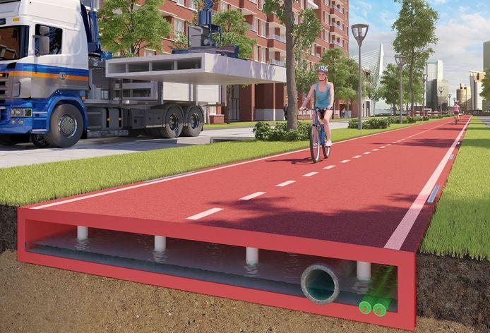 Het plastic pad gaat drie keer zo lang mee als een gewoon fietspad, heeft KWS, onderdeel van bouwonderneming VolkerWessels, berekend.