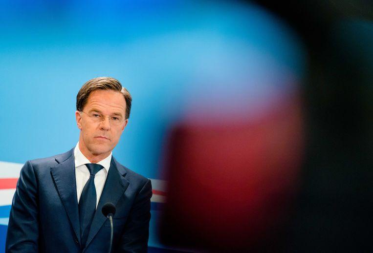 Premier Mark Rutte tijdens de wekelijkse persconferentie na afloop van de ministerraad.  Beeld ANP/Bart Maat