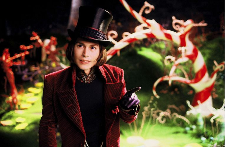 Johnny Depp in Charlie and The Chocolate Factory. Beeld
