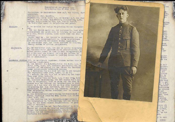 Notulen gemeenteraad Beugen en Rijkevoort en een portret van Jan Cornelissen, een gesneuvelde soldaat uit Sambeek. (Bron: brabantsegesneuvelden.nl)