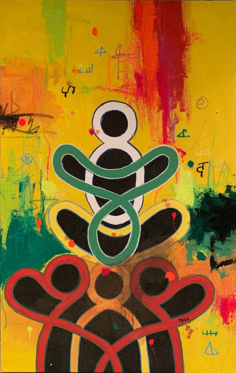 Op de schilderijen van Marcel Pinas komen ook symbolen en tekens voor die afkomstig zijn uit de marroncultuur. Beeld Marcel Pinas