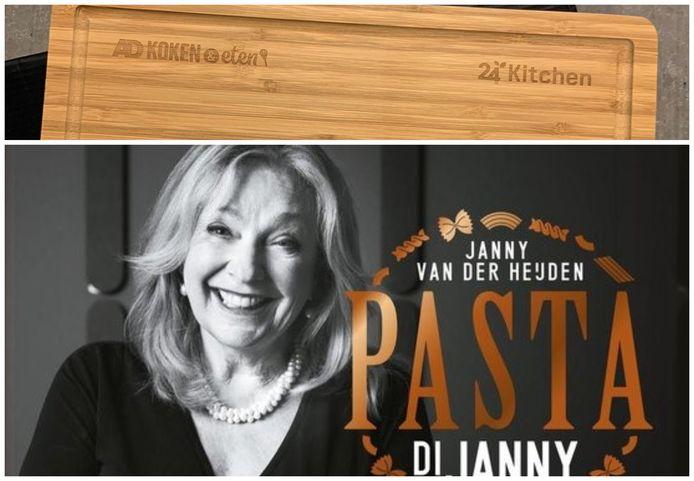 Het pakket bestaat uit het pastaboek van Janny van der Heijden en een snijplank met de logo's van AD Koken&Eten en 24Kitchen.
