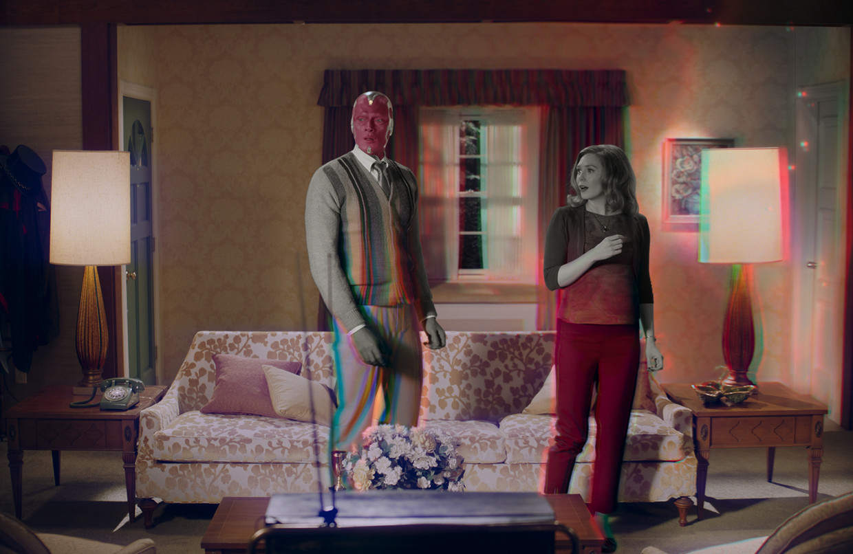 De tv-reeks 'WandaVision' is, behalve een superheldenverhaal, ook een studie in zeventig jaar sitcoms. Beeld Marvel