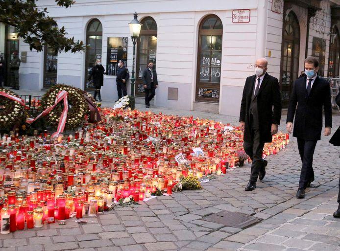 Charles Michel et Sebastian Kurz sur les lieux de l'attentat le 9 novembre