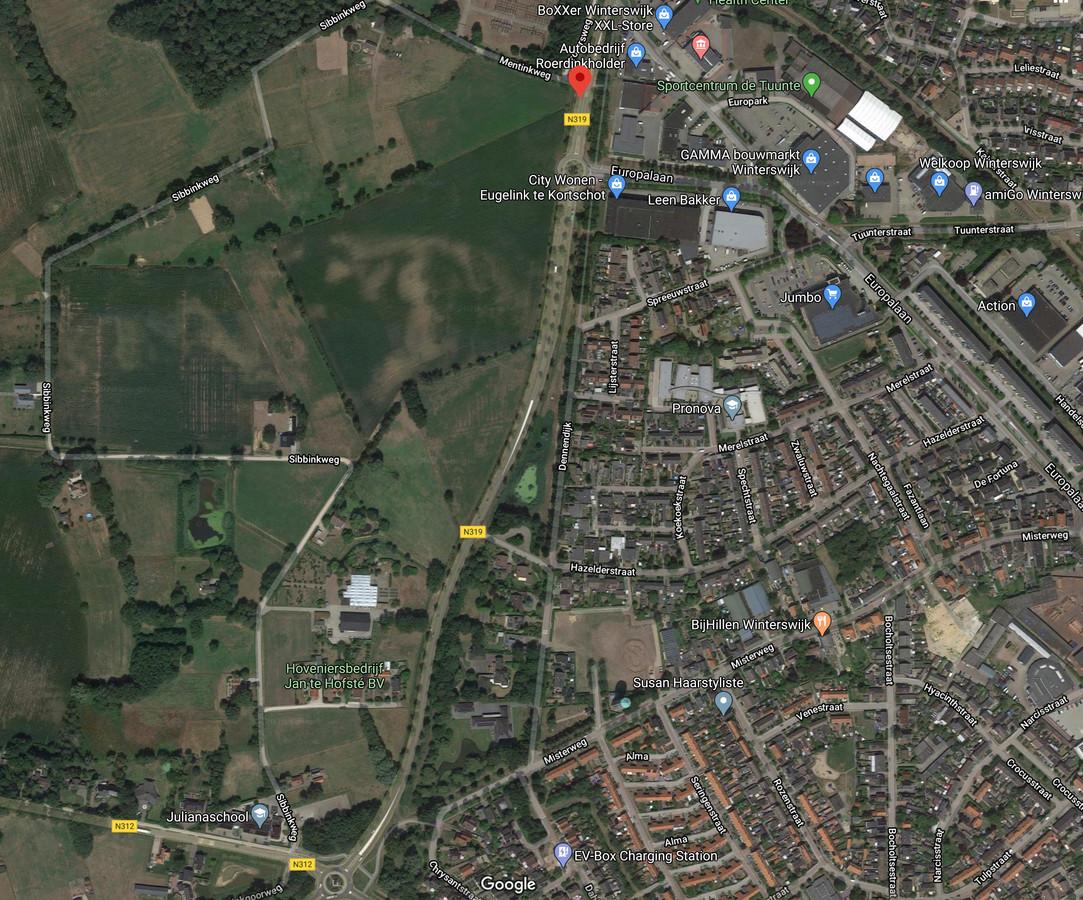 Het beoogde Tuunterveld wordt begrensd door de Rondweg-West en de Sibbinkweg. Het hoveniersbedrijf ligt straks ook op het bedrijventerrein in Winterswijk.
