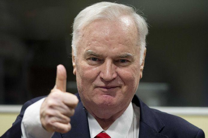 Ratko Mladic bij het beging van het proces tegen hem in het Joegoslavië-tribunaal in Den Haag, in november 2017.