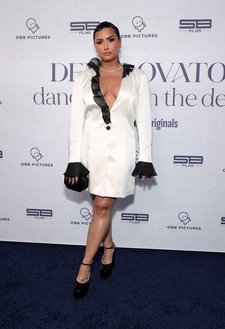 Demi Lovato voor de première van 'Dancing With the Devil, in de The Beverly Hilton op 22 maart.  Beeld Getty Images for OBB Media