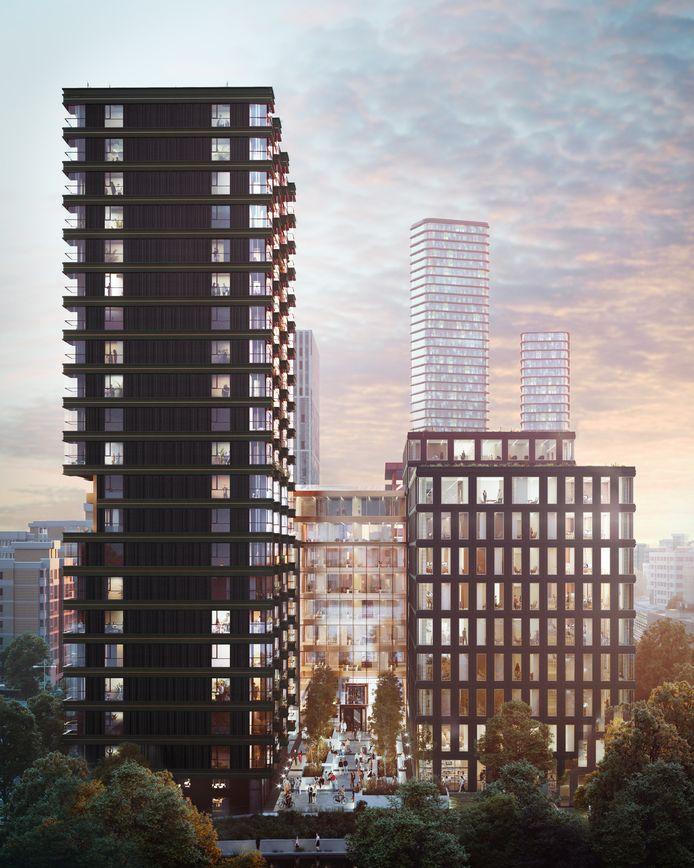 Een impressie van het plan EDGE gezien vanaf de Dommel in Eindhoven, met de woontoren op de voorgrond en de kantoren aan de Stationsweg.