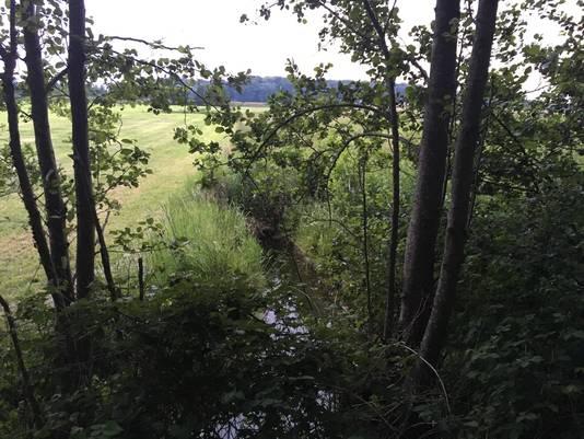 De sloot bij landgoed Stoutenburg, in Achterveld, waarin het lichaam werd gevonden.