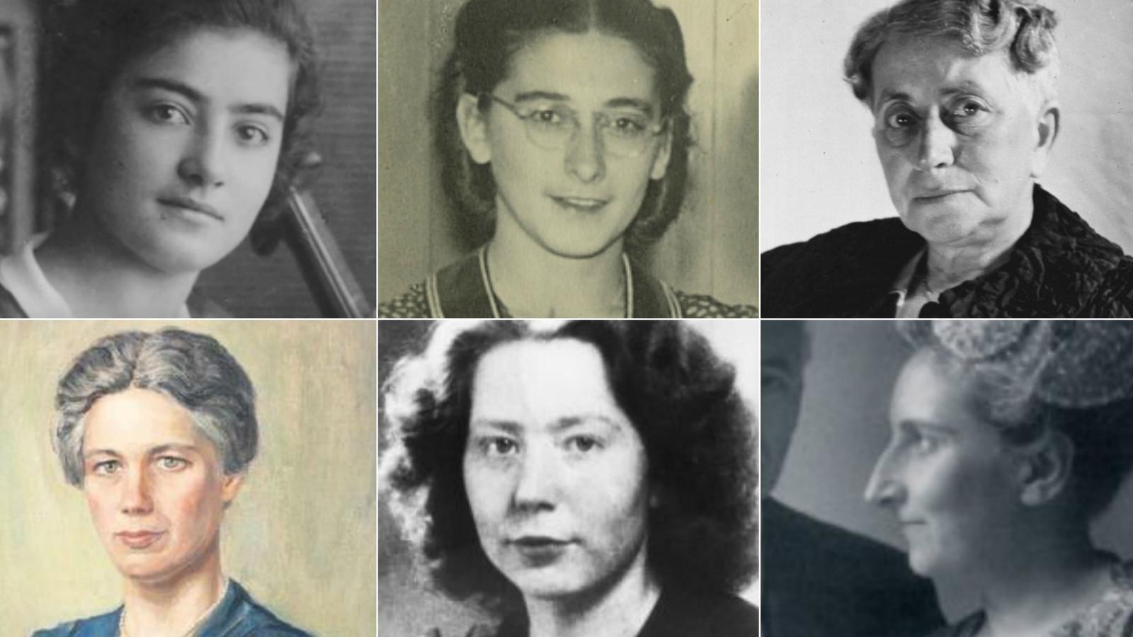 Verzetsheldinnen vlnr: Frieda Belinfante, Henriette Voute, Henriette Pimentel, Jacoba van Tongeren, Hannie Schaft en Hester van Lennep.