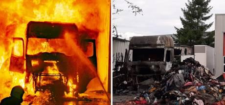 Beelden van heftige vrachtwagenbrand Doesburg op tv: brandstichters in beeld