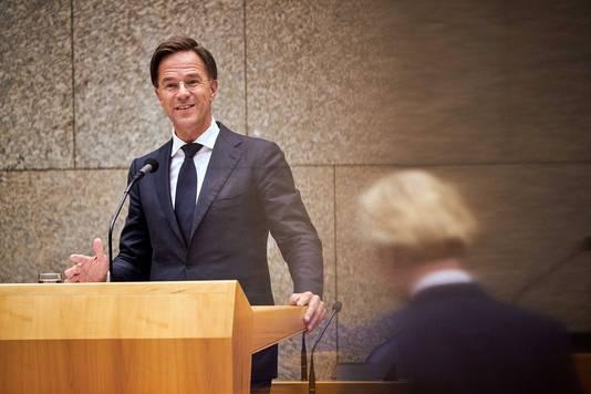 Premier Mark Rutte tijdens een interruptiedebat met PVV-leider Geert Wilders.