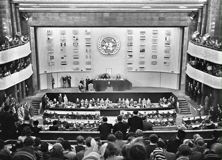 Assemblee van de VN tijdens de ondertekening van de universele verklaring voor de rechten van de mens Beeld anp