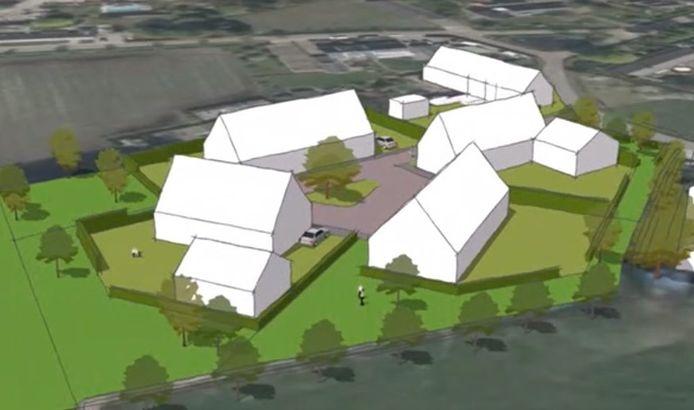 Voorlopige schets van vier nieuwe woningen en bijgebouwen aan het Rullen 7a in Gerwen. De woning aan de weg is een bestaand pand.