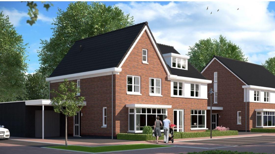 Impressie van de woningen die bouwbedrijf Van Peer gaat bouwen tussen de Graaf Alardstraat en Walstraat in Megen.