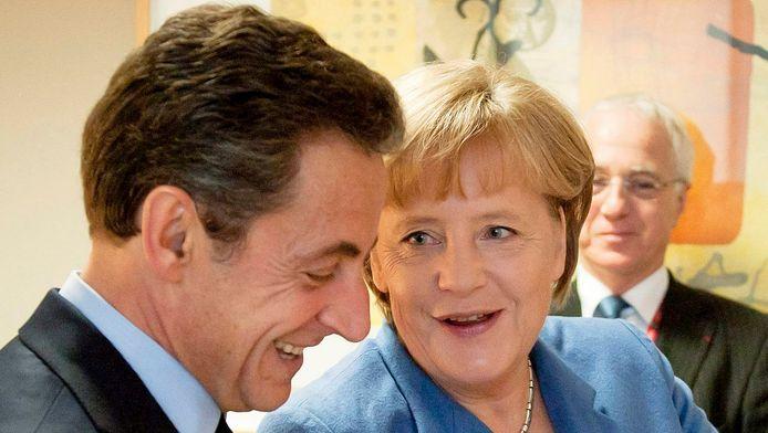Nicolas Sarkozy en Angela Merkel.