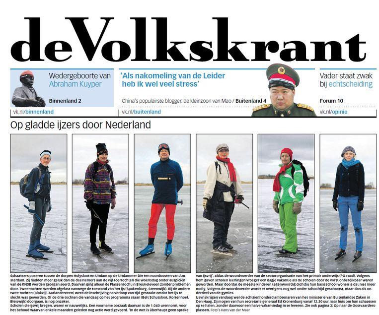 De voorpagina van de Volkskrant op 8 januari 2009 Beeld de Volkskrant