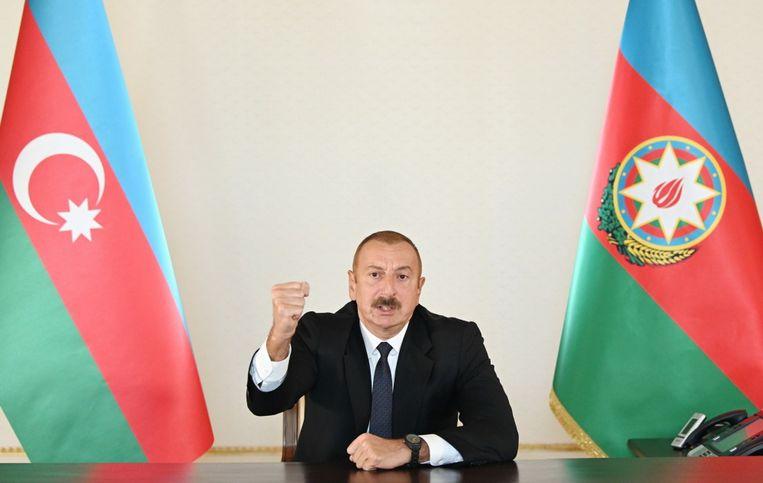 President Ilham Alijev van Azerbeidzjan. Dat land heeft het meeste belang bij een oorlog.   Beeld EPA