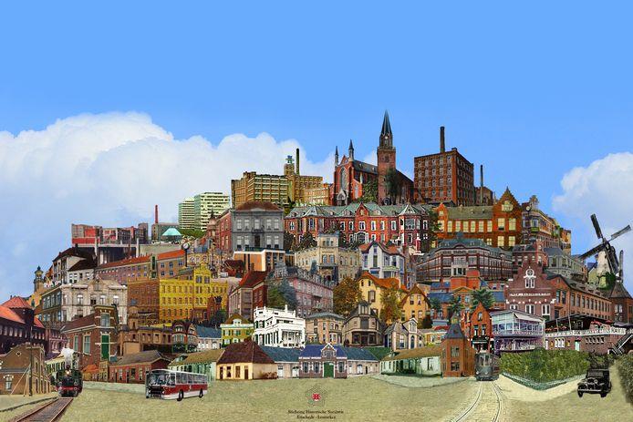 De placemat met een collage van historisch Enschede.