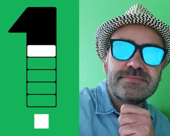 Gamedesigner Bart Bonte en een voorbeeld van zijn spel 'Green'