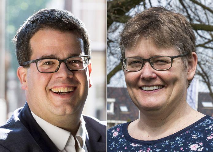 VVD-fractievoorzitter Dimitri Gilissen en GroenLinks-fractievoorzitter Heleen de Boer steken allebei hun hand op voor het voorzitterschap van de vertrouwenscommissie.