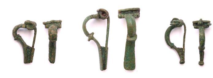 Complete Romeinse mantelspelden waarvan er 19 zijn gevonden aan de Hamstraat in Velddriel.