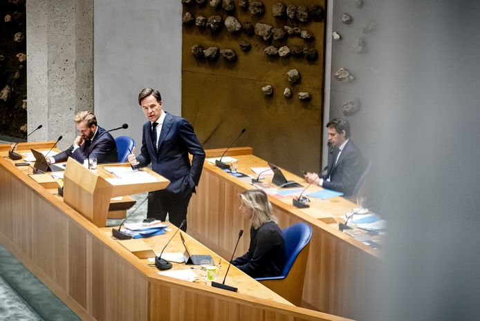 Demissionair minister Hugo de Jonge (Volksgezondheid, Welzijn en Sport), demissionair premier Mark Rutte, demissionair minister Kajsa Ollongren (Binnenlandse Zaken en Koninkrijksrelaties) en demissionair minister Wopke Hoekstra (Financiën)