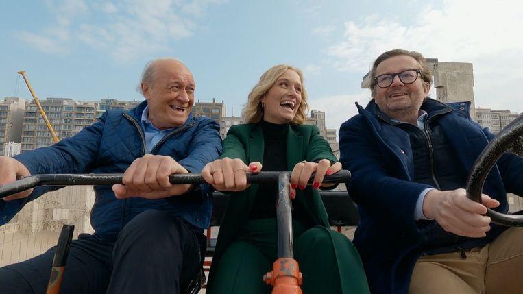 Jacques Vermeire, Julie Vermeire en Marc Coucke in 'Hit The Road, Jacques'. Beeld SBS
