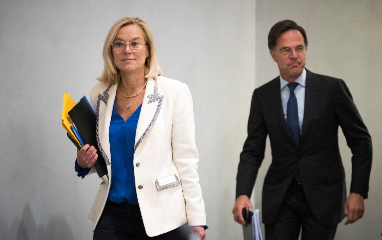 Sigrid Kaag (D66) en Mark Rutte (VVD). Beeld ANP