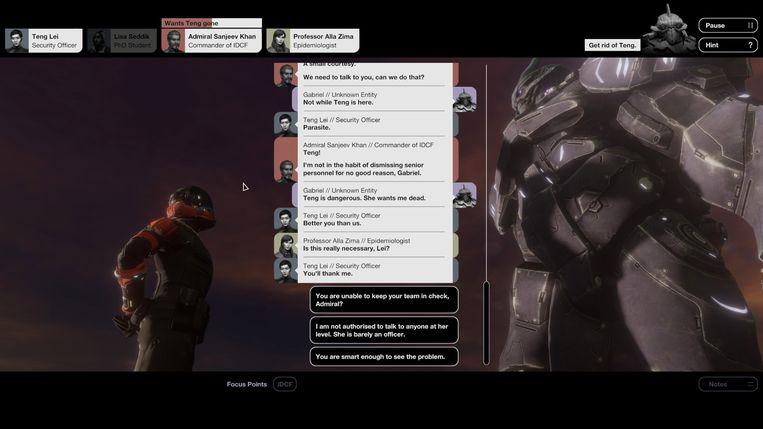 Een voorbeeld van de dialogen die mogelijk zijn in de prozagedreven game 'Quarantine Circular'. Beeld Bithell Games