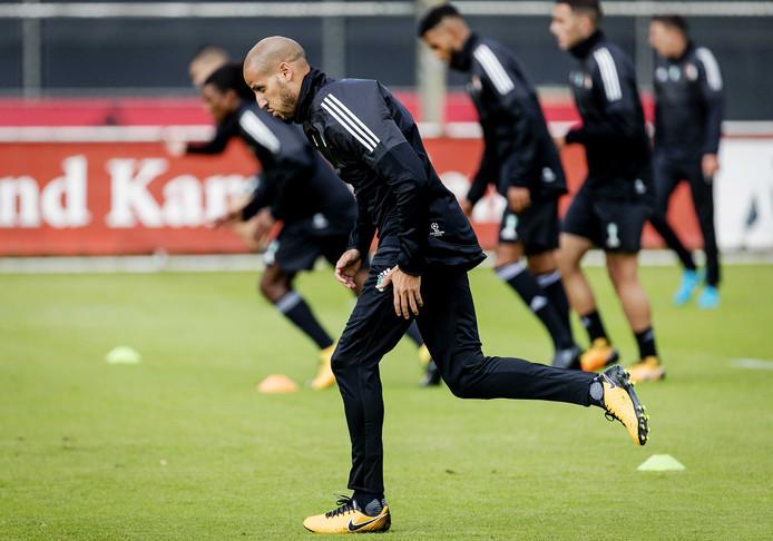 Karim El Ahmadi van Feyenoord tijdens de training in aanloop naar het eerste duel in de Champions League tegen Manchester City.