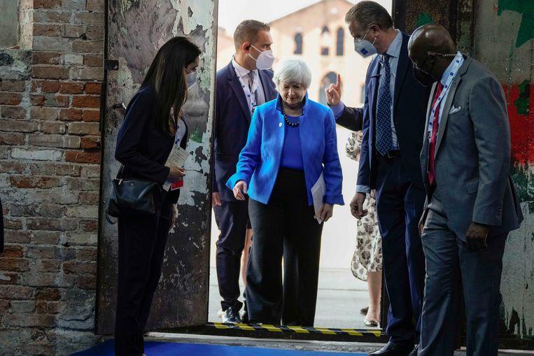 De Amerikaanse minister van Financiën Janet Yellen tijdens de G20-top in Venetië. Beeld AP