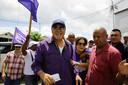 Desi Bouterse tijdens zijn laatste campagnetour in Paramaribo