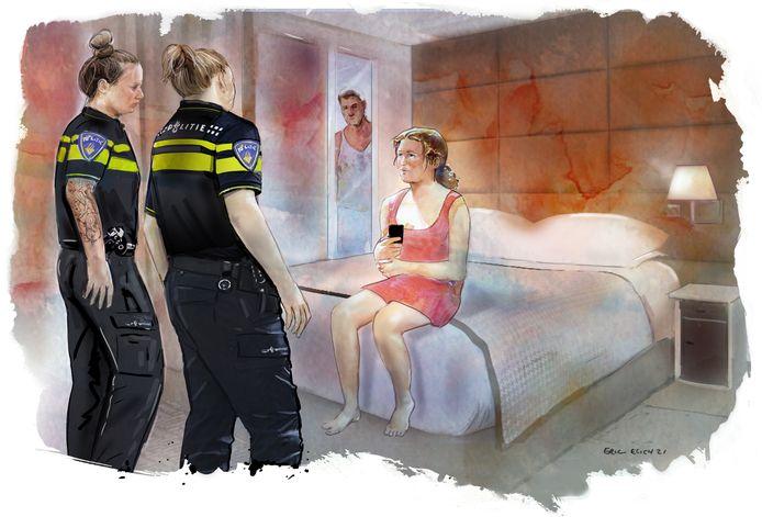 De politie treedt op bij illegale prostitutie, in combinatie met drugs.