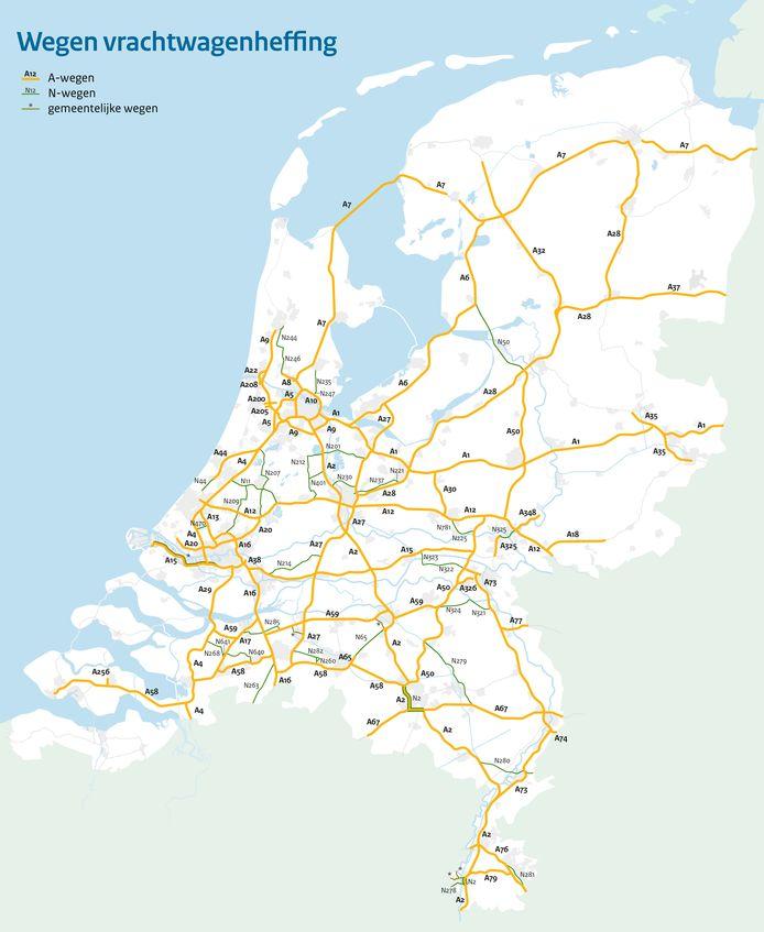 Een overzicht van de wegen waar een kilometerheffing voor vrachtwagens gaat gelden.