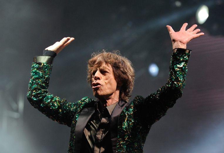 Mick Jagger op het podium van Glastonbury. Beeld epa