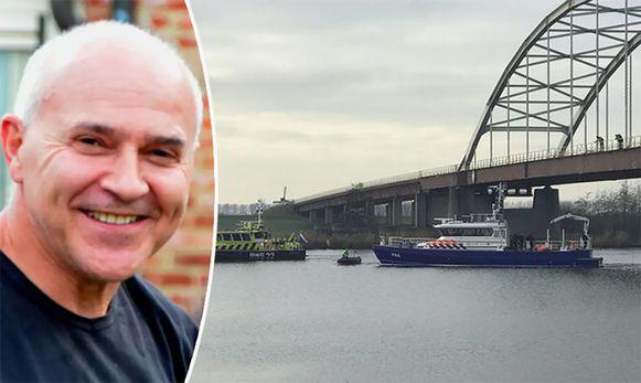 Politieduikers zochten onder de brug bij Nieuw-Vossemeer naar stoffelijke resten van de vermiste Belgische loodgieter Johan van der Heyden.