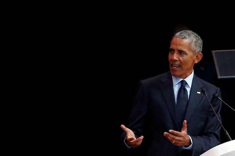 Voormalig Amerikaans president Barack Obama op de zestiende Nelson Mandelalezing. Beeld REUTERS