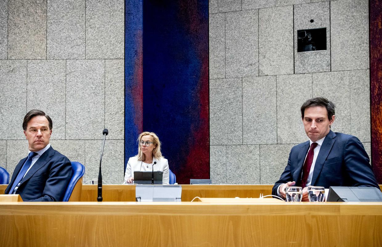 Drie hoofdrolspelers in de kabinetsformatie: Mark Rutte, Sigrid Kaag en Wopke Hoekstra. Beeld ANP