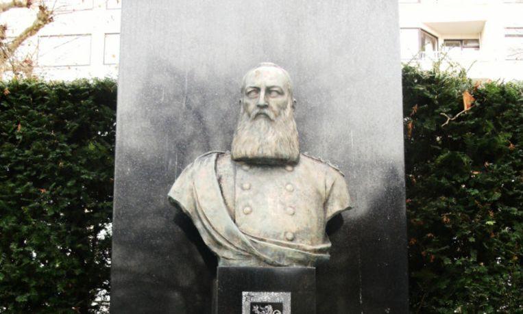 Het Leopold II-standbeeld in het Gentse Zuidpark. Beeld rv